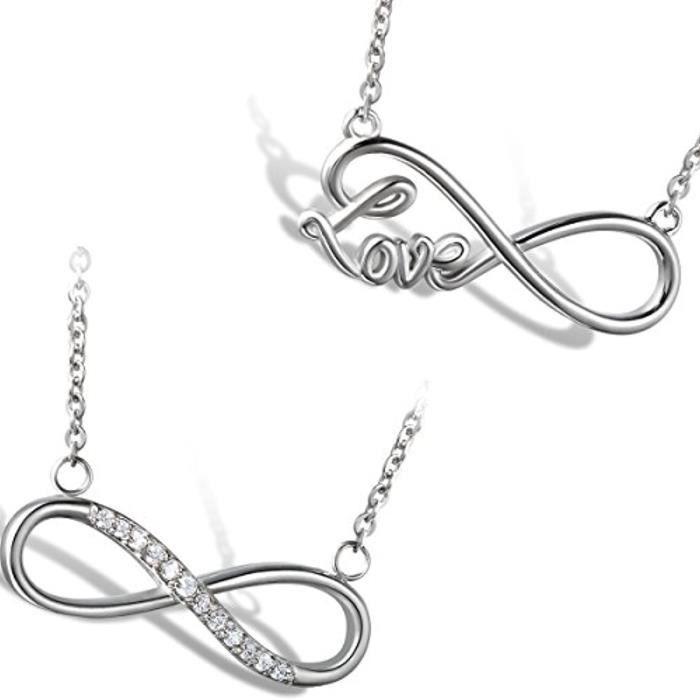 Acier Inoxydable Pendentif Collier Fantaisie Femme Infini Infinity Amour Chic Pendentif Cadeau Saint Valentin