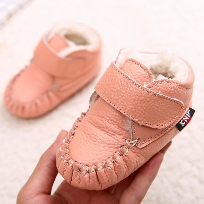 Bottes bébé PU Cuir De Neige Hiver Garçons Filles Casual Mode Enfants Chaussures BBZH-XZ157Rose20