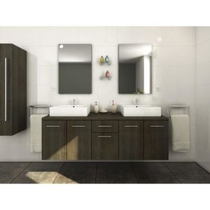 Meuble de salle de bain 11 pcs avec lavabo et robinet Noir - Achat ...