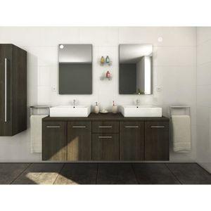 Meuble salle de bain wenge double vasque - Achat / Vente pas cher