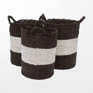 ab970678d85844 PANIER A LINGE Lot de 3 paniers en osier bicolores noirs et gris