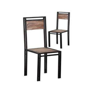 CHAISE Lot De 2 Chaises Design Industrielle En Bois Sh