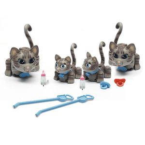 PELUCHE PET PARADE Grande Famille 2 Chats + 2 Chatons Gris