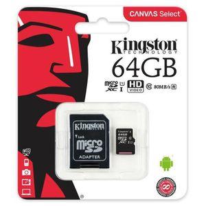 CARTE MÉMOIRE Kingston Canvas Select SDCS - Carte mémoire microS