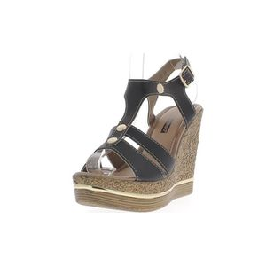 SANDALE - NU-PIEDS Sandales compensées femme noires talon de 12cm
