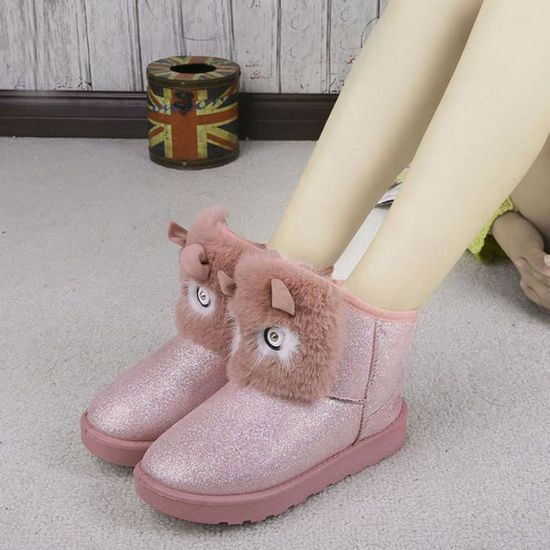 Lady Bottines Casual Chaud rose Hiver Chaussures Neige Mode Femme aFqzxp e9ff1932308