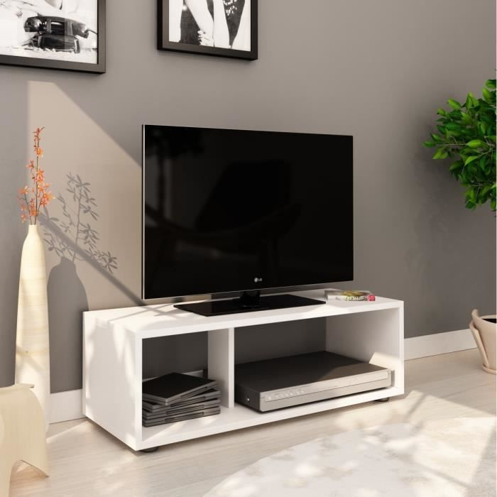 MEUBLE TV BOOM Meuble TV contemporain blanc mat - L 80 cm