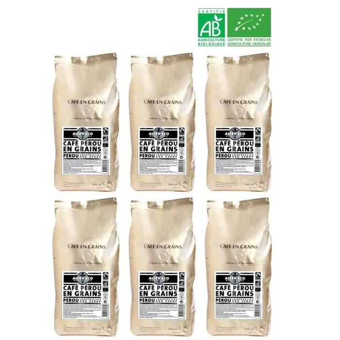ALTER ECO Café Pérou 100% Grains Bio 1kg X6