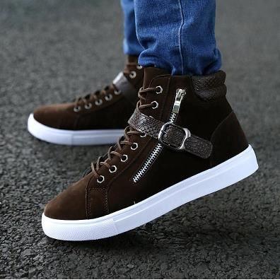 Les chaussures et casual chaussures de velours hiver hommes, chaussures de sport, chaussures pour hommes, brun 42