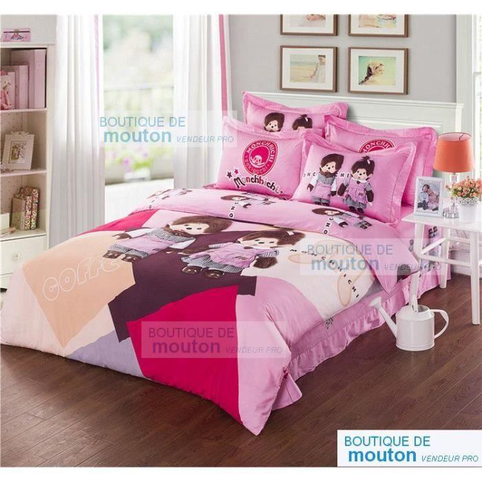 Parure de lit monchhichi coton 200 230cm 4 piece mon kiki kiki fille et gar - Parure de lit one piece ...