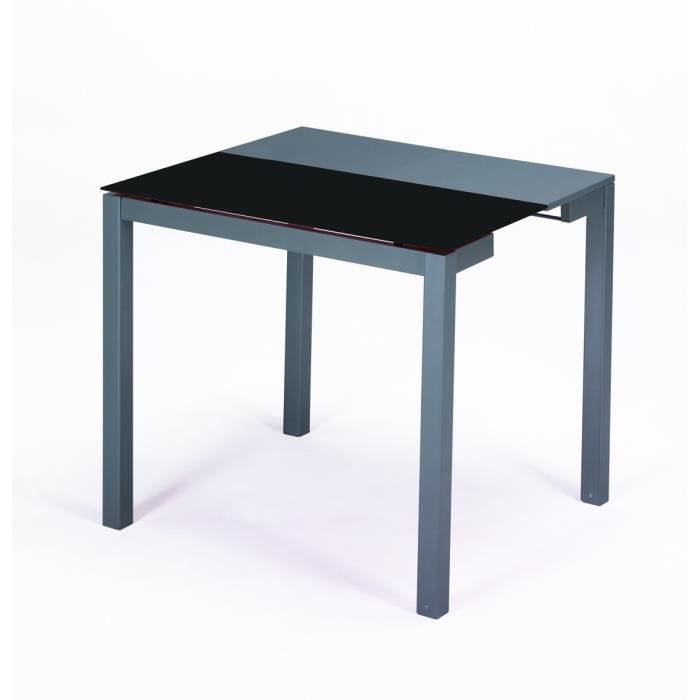 Table a manger verre pied noir achat vente table a for Table a manger verre noir