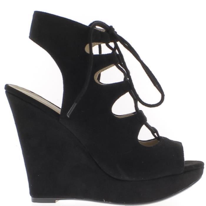 Sandales compensées noires à talon de 12,5cm à lacets et plateforme