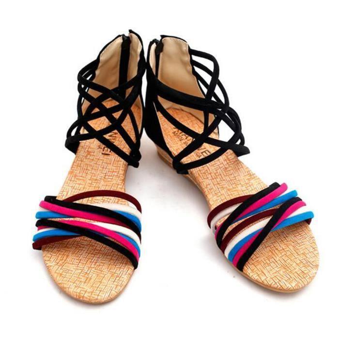 Biencome® Sandales Femmes Plage Sandales Plates en PU - BEIGE w9wENG