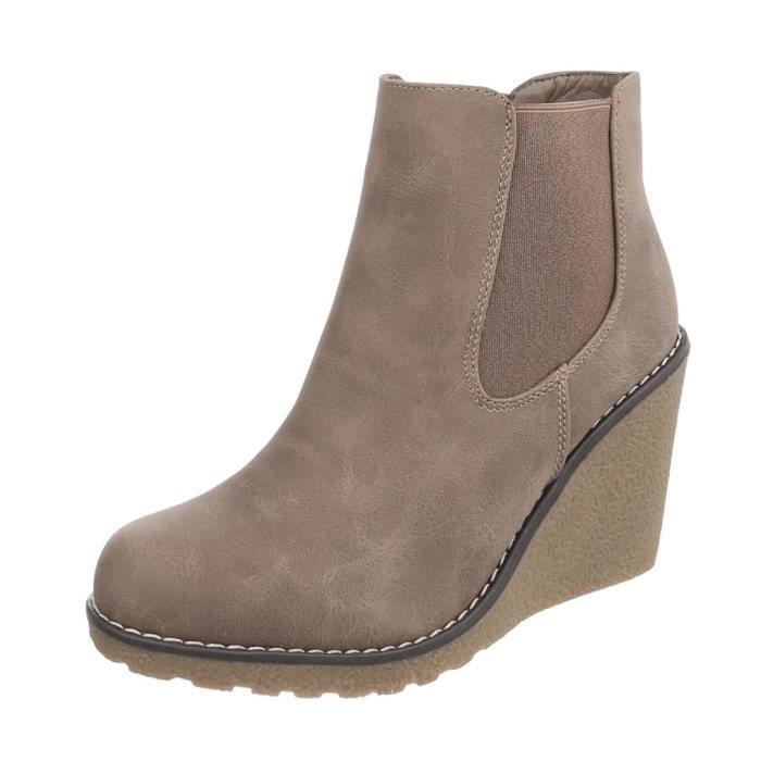 Chaussures femme bottillon Talon compensé bottes Marron clair 41