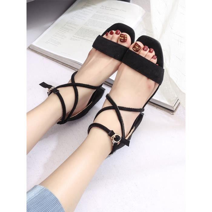 Cool Toe Sandales À Carrés Évider Chaussures Femmes Noir Open Talons CEtBWq