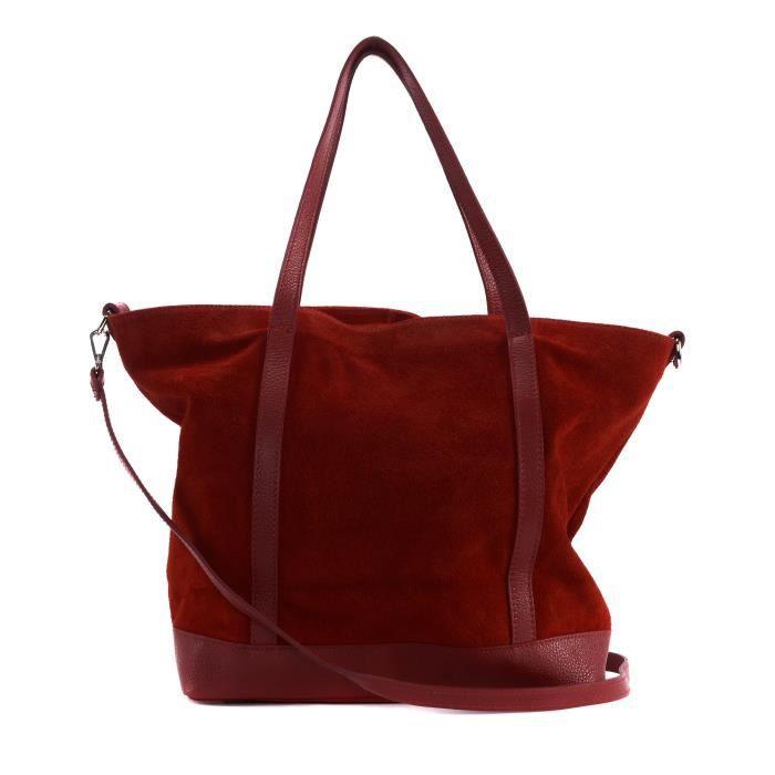 767f8614fc Sac à Main cabas cuir femme - Modèle Irupu rouge clair - Achat ...