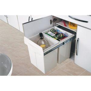 Poubelle cuisine 2 bacs achat vente poubelle cuisine 2 bacs pas cher soldes d s le 10 - Poubelle cuisine tri selectif 2 bacs ...