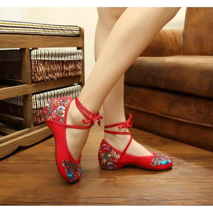 Ballerines Femme , chaussures brodées Rouge