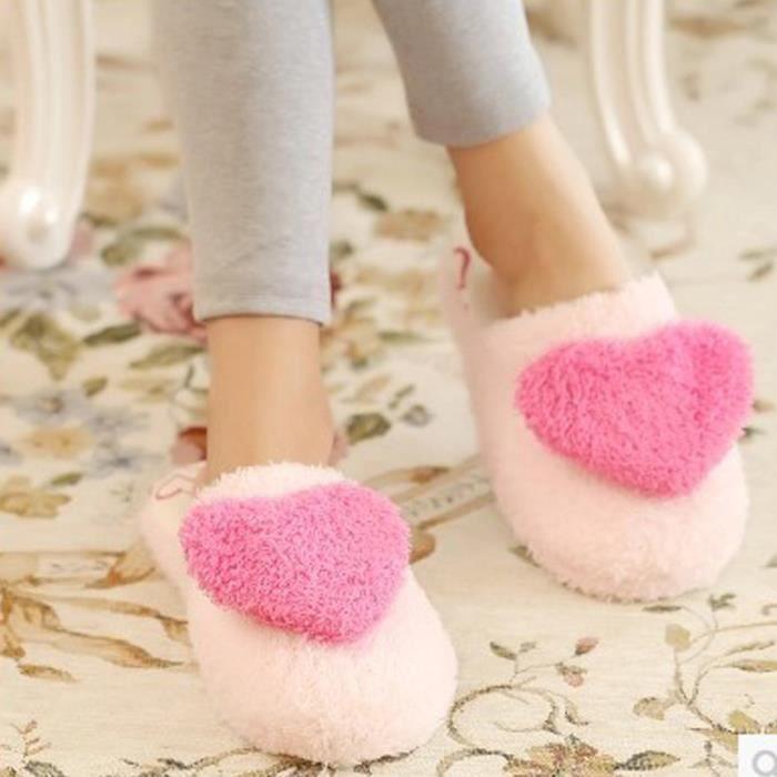 Sidneyki®Pantoufles chaudes intérieures de molleton de Womens pantoufles douces mignonnes d'hiver de bande dessinée Rose XKO83
