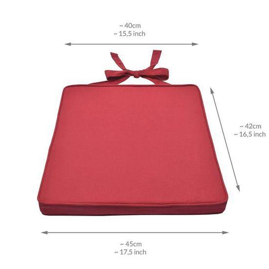 Beautissu Lot De 4 Galettes Chaises Rouge 45x40x5 Cm