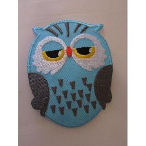 ACCESSOIRE CASQUE petit patch chouette hibou bleu  8 cm x 6 cm, rock