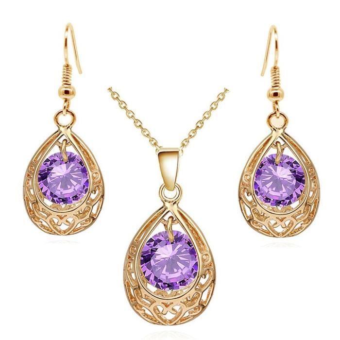 Parure bijoux femme ciselée orientale oxyde de zirconium plaqué or Couleur  Violet e6d1a465c9fa