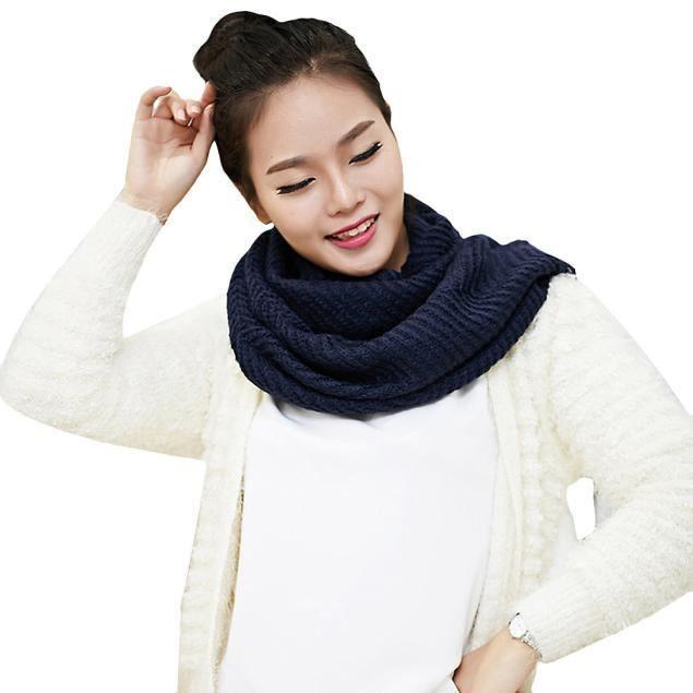 Femmes hiver chaud 2 cercle tricot doux col châle écharpe châle NY 147Marine 1a3b9dc81d3