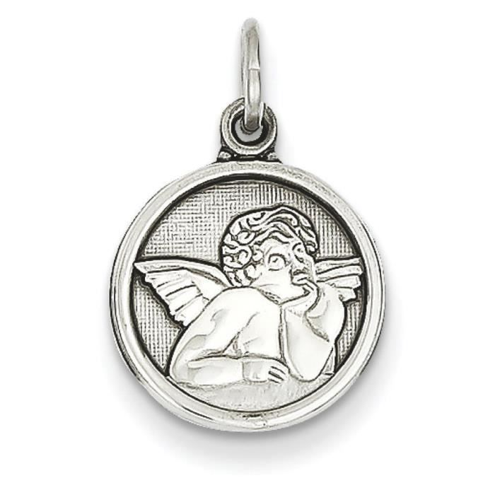 Or blanc 14 carats Angel Médaille charme-Dimensions :12 x 12 mm
