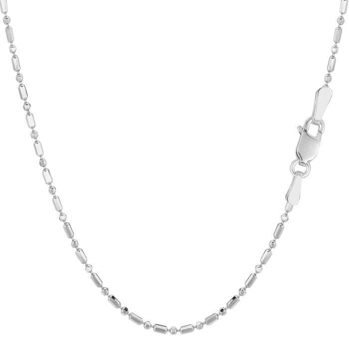 Chaîne- 14k or blanc diamant taillé , 1,5 mm, 18