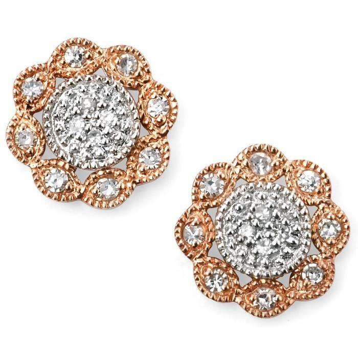 D998 - Boucle doreille diamant en Or rose 375/100