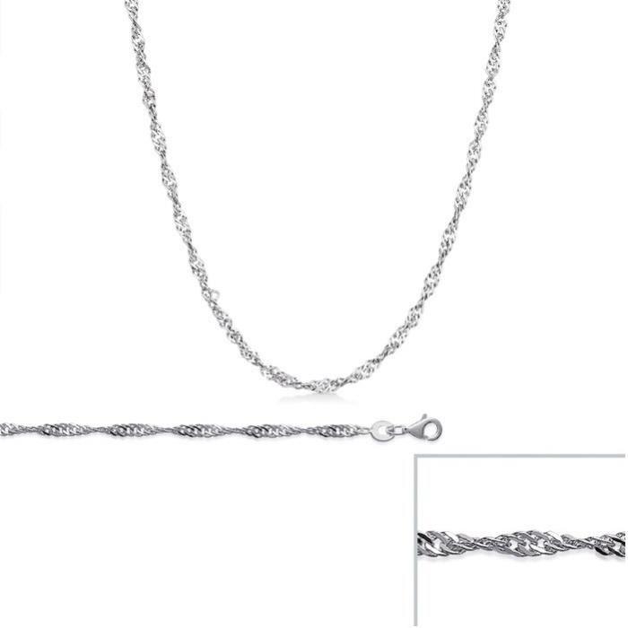 Chaine argent Torsadée maille SINGAPOUR largeur 2,3mm (60 cm)