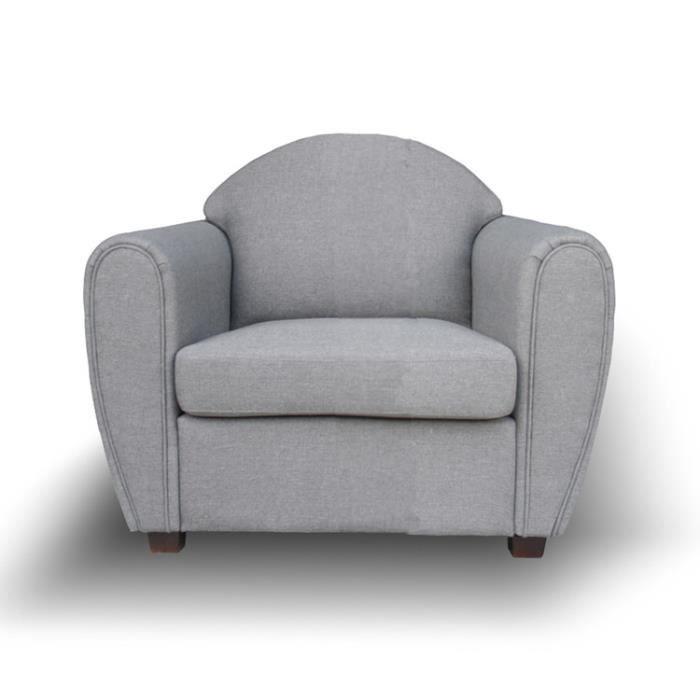 Fauteuil club tissu gris clair WESTERN Achat Vente fauteuil Gris