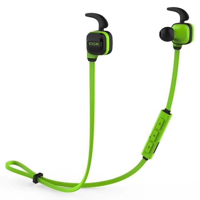 Sports Sans Fil Bluetooth Écouteurs Antibruit Casque Stéréo Avec Microphone Green