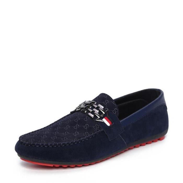 Hommes Mocassins confortable Marque De Mode Mocassins Haute Qualité En Cuir Véritable En Daim En Cuir Chaussures Hommes été YAQcbJv3v9