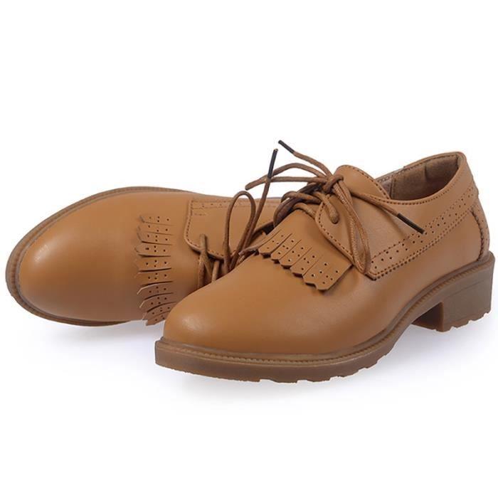 British Style extérieur épais Chaussures Bas Richelieux femmes