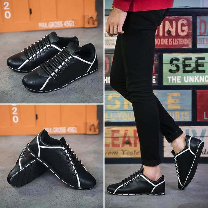 plates YLK71208592BK Napoulen®Mode chaussures New style confortable Noir Hommes cuir Sneakers nw4zvqxw0F