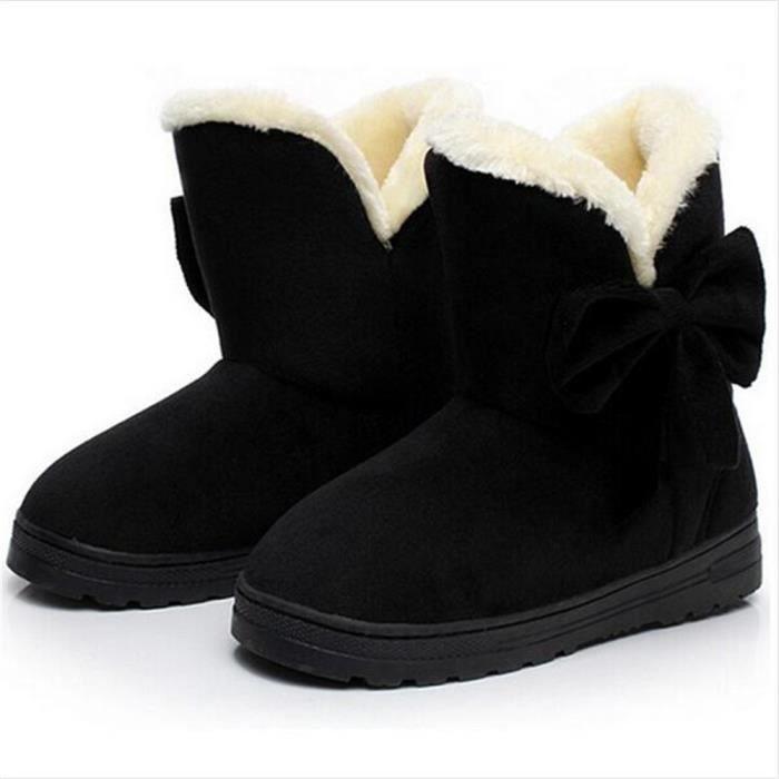 Bottine Femme Hiver Comfortable Peluche Classique Boots BSMG-XZ014Noir-40