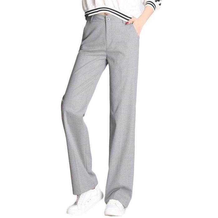 ace91a1f34b Pantalon Femme Coupe Droite Taille Haute Couleur Unie Gris Gris ...