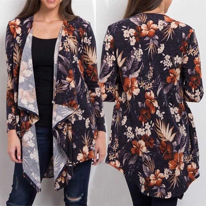 Femmes Flower Fashion Irrégularité ®iui5020 Long Manches Longues Manteau EwrEq5R