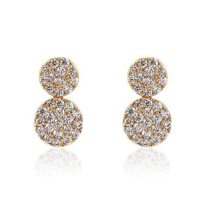 Boucles DOreilles - Plaqué Or - Eclats Diamant - Cubic Zirconium (Cz) - Bijoux Intemporel *