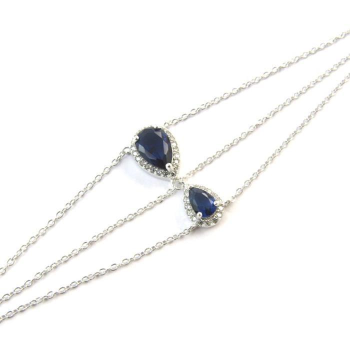 Bracelet Argent Sissi saphir (rhodié)- Les Trésors De Lily [N5406]