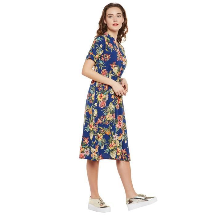 Martini Womens Blue Floral Print Knee Length Drawstring Casual Plus Size Dress RWNV9 Taille-46