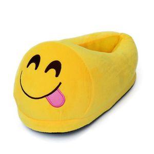 #5 une paire de chaussons pantoufles chaussures amusantes pour maison domestique Expression Imoji drôle Langue Jaune NCDXft