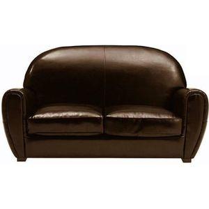29793b1a105d CANAPÉ - SOFA - DIVAN Canapé CLUB 2 places en cuir recyclé marron brilla