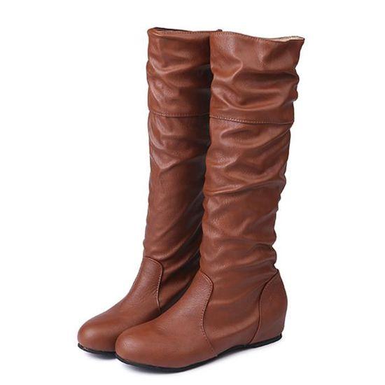 Femmes d'hiver plat Solide Couleur Martin Pointu Haut longue Bottes Chaussures Casual Marron Marron - Achat / Vente botte