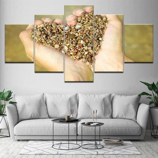 5 Pièces Coeur Forme Sable Et Gravier Peintures Affiche Modulaire