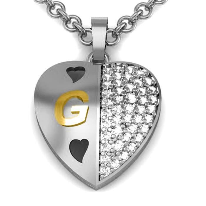 Lettre de femmes Jewelscart en forme de coeur Alphabet G Valentine forme dor rhodié Pendentif plaqué VF5WT
