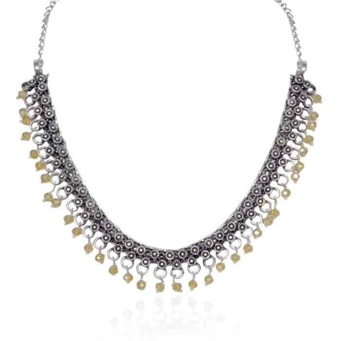 Plaqué Argent Oxydé Femmes perles Collier ras du cou pour etOC505