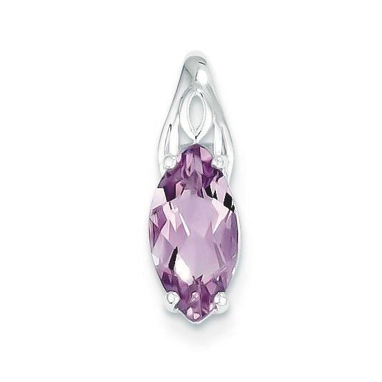 Pendentif Quartz Rose-Argent 925/1000–JewelryWeb
