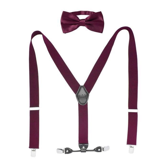 dernière remise acheter authentique faire les courses pour Set de bretelles Massi Morino avec nœud papillon pour homme, bretelles  réglables en longueur en cuir véritable en forme de Y